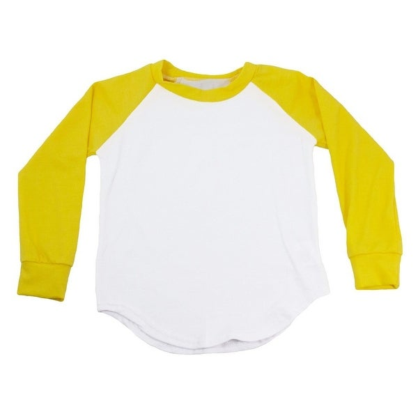 Unisex Baby Yellow Two Tone Long Sleeve Raglan Baseball T-Shirt