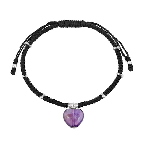 Handmade Purple Amethyst Heart Cotton Rope Macrame Sterling Silver Adjustable Bracelet (Thailand)