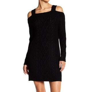 RDI Black Womens Size XS Cold Shoulder Cable Knit Sweater Dress