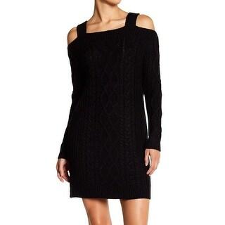 RDI Black Women's Large L Cable-Knit Cold-Shoulder Sweater Dress
