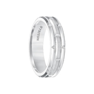 ARJAN White Tungsten Carbide Comfort Fit Band With Cut Brick Motif And Satin Finished Center By Triton Rings 6mm