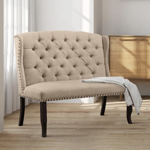 Furniture of America Tays Rustic Linen Fabric Loveseat Dining Bench