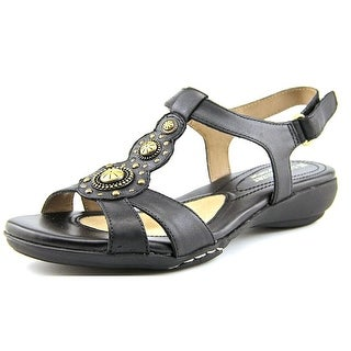 Naturalizer Carlita Women Open-Toe Leather Black Slingback Sandal