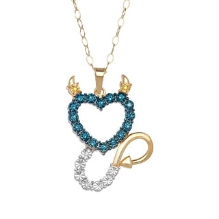 1/10 ct Diamond Devil Heart Pendant in 14K Gold-Plated Sterling Silver - Blue