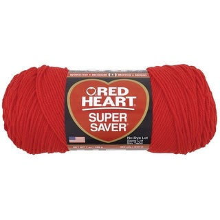 Red Heart Acrylic 4-Ply Dryable Machine Washable Economy Super Saver Yarn, Hot Red, 7 oz Skein