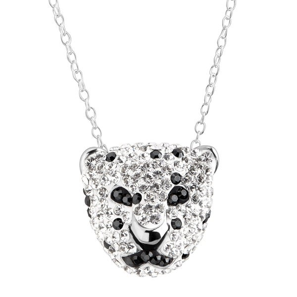 Crystaluxe Spotted Panther Pendant with Swarovski Crystals in Sterling Silver