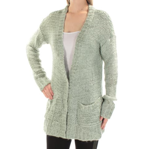 AMERICAN RAG Womens Green Pocketed Long Sleeve V Neck Button Up Sweater Size: M