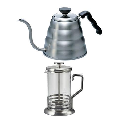 Hario 4-Cup Tea and Coffee Press and V60 Buono Coffee Drip Kettle