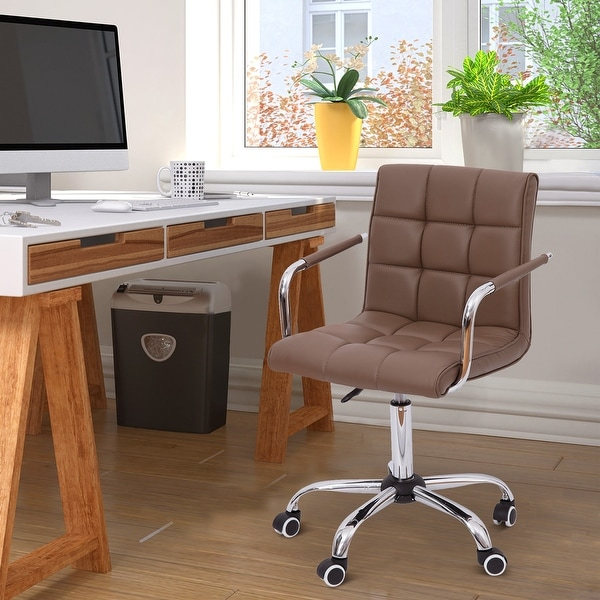 HOMCOM Modern Computer Desk Office Chair with Upholstered PU Leather, Adjustable Heights, Swivel 360 Wheels, Brown. Opens flyout.
