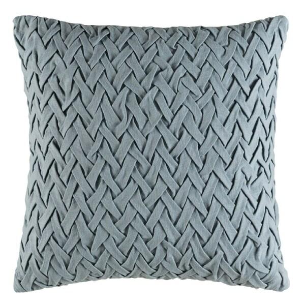 "18"" Woven Wedgewood Gray Decorative Throw Pillow- Down Filler"