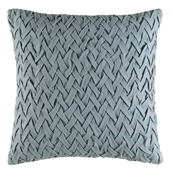 "22"" Woven Wedgewood Gray Decorative Throw Pillow- Down Filler"