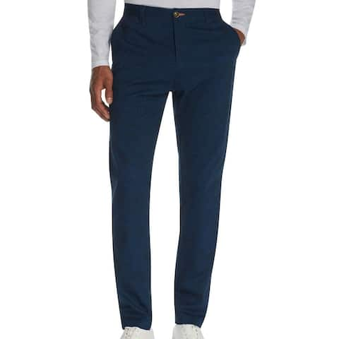 Tallia Mens Chino Pants Navy Blue Size 38 Straight-Fit Stretch Paisley