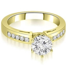 0.75 cttw. 14K Yellow Gold Channel Set Round Cut Diamond Engagement Ring