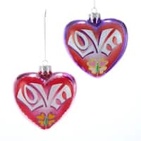 "4.25"" Flower Power Noble Gems Glass Pink Heart-Shaped Love Christmas Ornament"