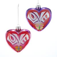"4.25"" Flower Power Noble Gems Glass Purple Heart-Shaped Love Christmas Ornament"