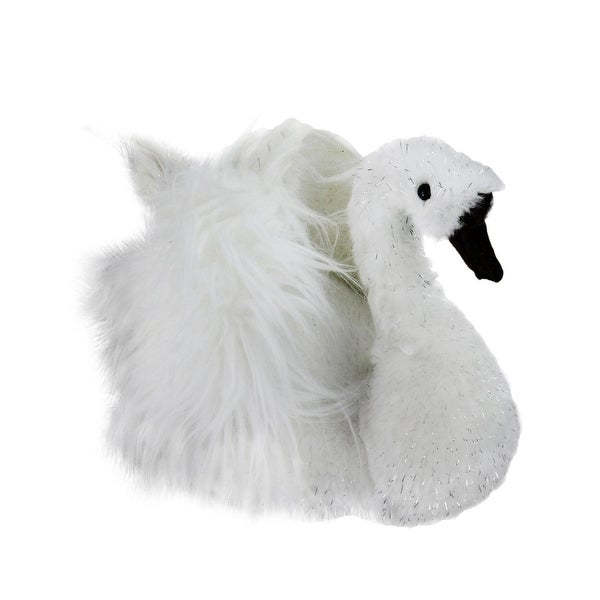 "9"" Sparkling White Swan Christmas Figure Decoration"