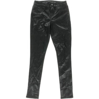 Tinseltown Womens Juniors Faux Leather Metallic Skinny Pants