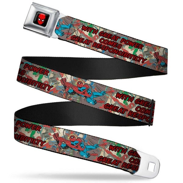 Marvel Comics Spider Man Full Color Spider Man With Great Power Comes Great Seatbelt Belt