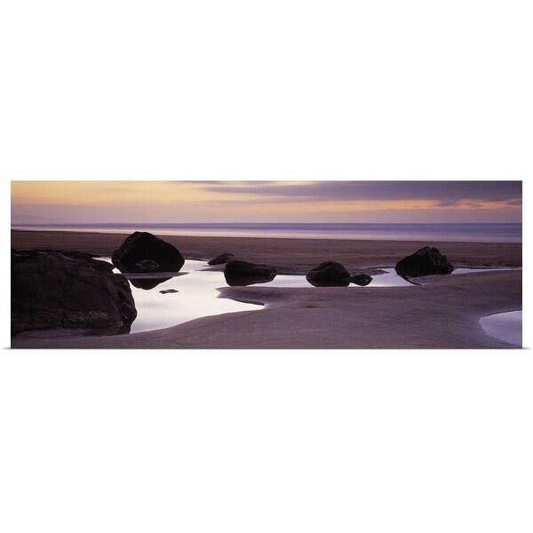 """Rocks on the beach, Sandymouth Bay, Bude, Cornwall, England"" Poster Print"