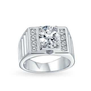 6CT Oval Brilliant Cut Solitaire AAA CZ Mens Engagement Wedding Ring Wide Band Silver Plated Brass Matte Brush Finish