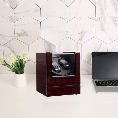 Double Watch Winder Automatic Rotation Wood Display Case Storage Organizer