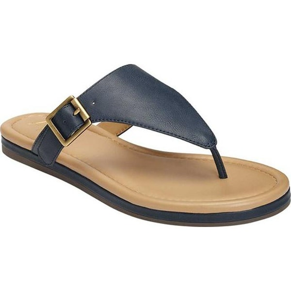 d2808822b792 A2 by Aerosoles Women  x27 s Drop Down Thong Sandal Navy Faux Leather