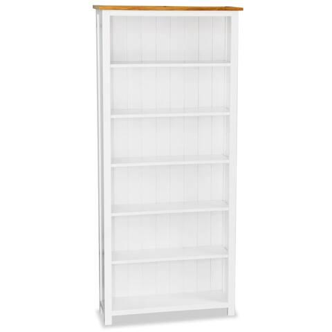 "vidaXL 6-Tier Bookcase 31.5""x9""x70.9"" Solid Oak Wood"