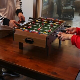 Sunnydaze 28-Inch Tabletop Foosball Game with Legs - Mini Sports Arcade Soccer