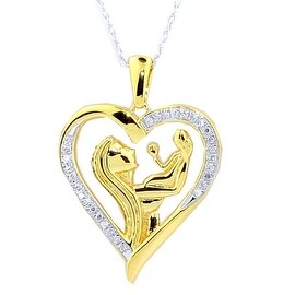 Diamond Heart Mother and Child Pendant and Necklace Set 18inch 1/10ctw Yellow Gold Tone (i2/i3, I/j) By MidwestJewellery - White