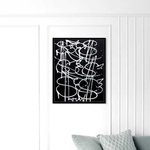 Oliver Gal 'Money Fly' Abstract Wall Art Framed Print Paint - Black, White