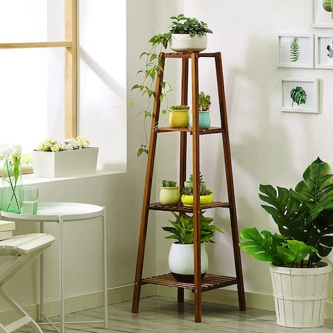 4-Tier Bamboo Plant Stand Planter Rack Flower Pots Holder Disply Rack - 8' x 10'