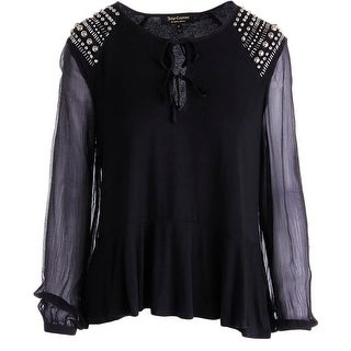 Juicy Couture Black Label Womens Boho Embellished Peasant Top