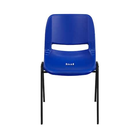 Offex HERCULES Series 661 lb. Capacity Navy Ergonomic Shell Stack Chair with Black Frame and 16'' Seat Height