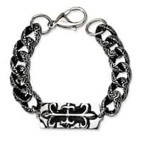 Chisel Stainless Steel Antiqued Gothic Bracelet