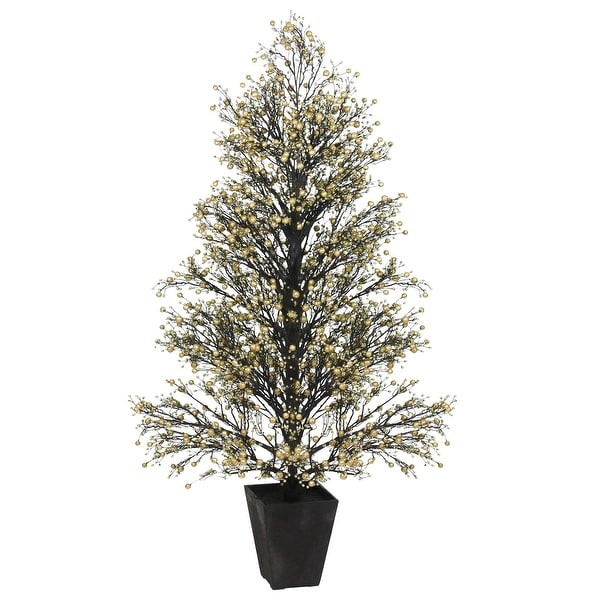 "51"" Potted Gold & Black Glittered Berry Christmas Topiary Tree #XBZ728-GO"