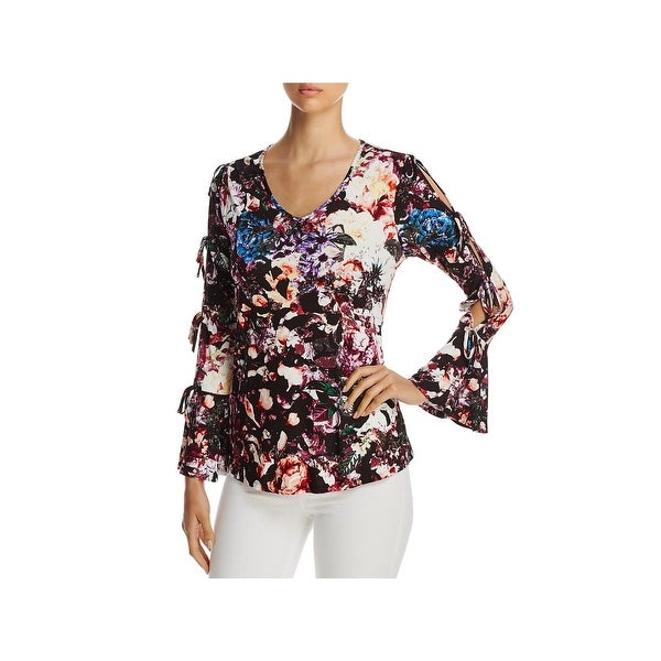 2ac86925c5b Shop Cupio Womens Casual Top Floral Print Cold Shoulder - Free ...