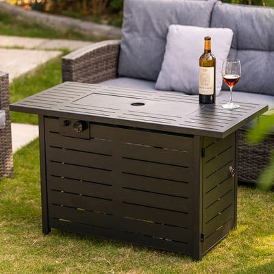 Adair Outdoor Patio 42-Inch Rectangular 50000 BTU Propane Fire Pit Table with Lava Rocks and Lid.
