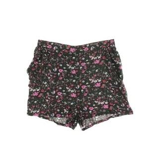 Aqua Womens Juniors Woven Floral Print Casual Shorts