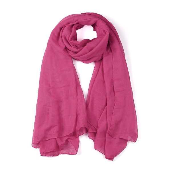 Soft Lightweight Long Scarves With Solid Color Shawl For Women Men Fuchsia-1