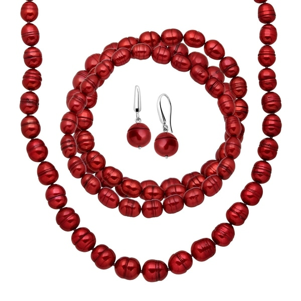 Red Freshwater Ringed Pearl Earring, Bracelets & Necklace Set in Sterling Silver