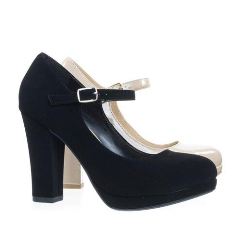 City Classified Foam Padded Comfortable Mary-Jane Dress Pump, Chunky Block High Heel