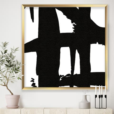 Designart 'Black & White Crossing Paths II' Modern & Contemporary Framed Art Print
