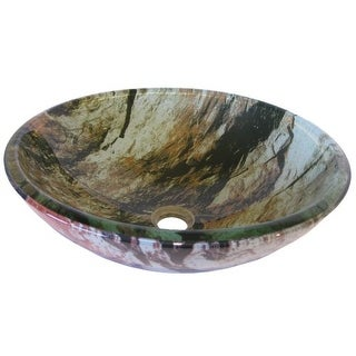 "Miseno MNO-340 Circular 16-1/2"" Tempered Glass Vessel Bathroom Sink"
