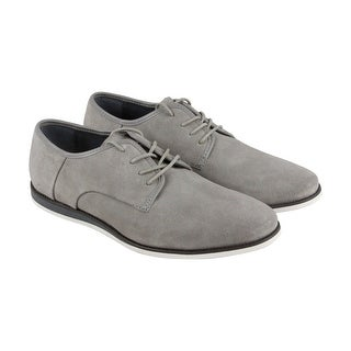 Calvin Klein Kadon Mens Gray Suede Casual Dress Lace Up Oxfords Shoes