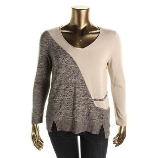 Nic + Zoe Womens Colorblock V-Neck Pullover Sweater