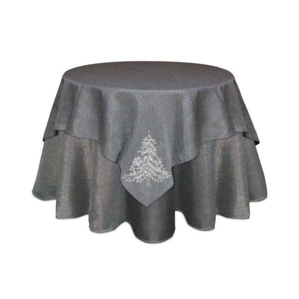 Pack of 2 Silver and White Christmas Tree Square Holiday Tablecloth Table Toppers 54""