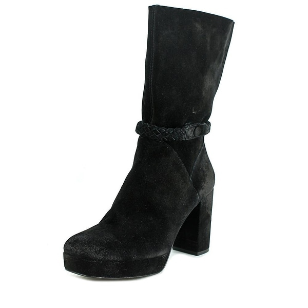Free People Iris Women Square Toe Suede Black Mid Calf Boot
