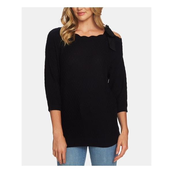 CECE Womens Black 3/4 Sleeve Jewel Neck Top Size S