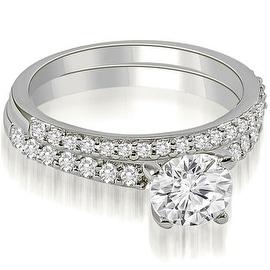 1.15 cttw. 14K White Gold Round Cut Diamond Bridal Set