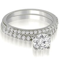1.15 cttw. 14K White Gold Round Cut Diamond Bridal Set